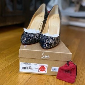 Size 39 , US 9 Christian Louboutin Eloise Strass